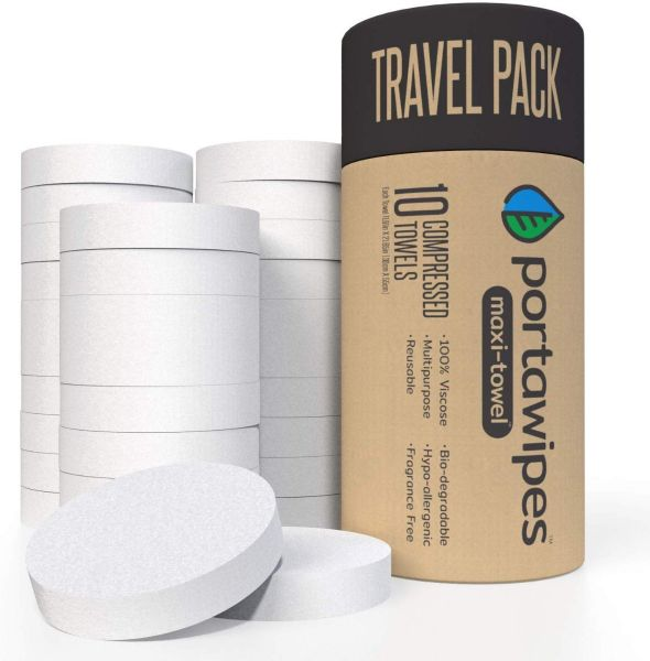 """Portawipes Maxi-Towel Jumbo Sized (11.5"""" X 22"""") Compressed Towel Tablet Cloth Wipes - 40 Towel Travel Pack with Carrying Case"""